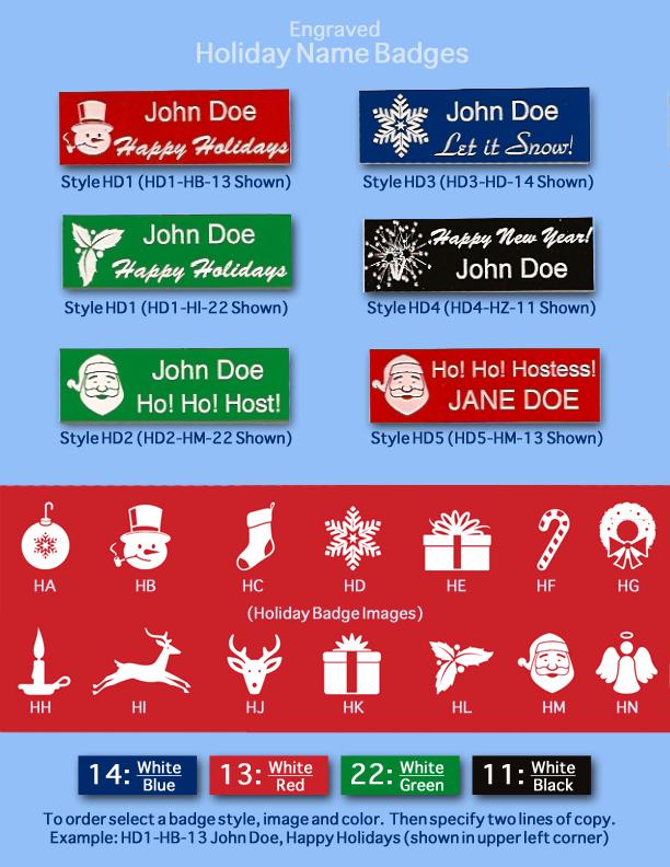 Arthur farb holiday name badges for Christmas name badges